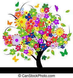 Árbol abstracto con flores