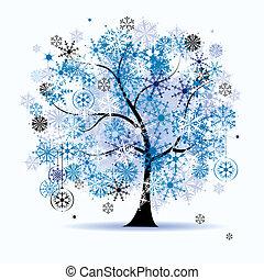 Árbol de invierno, copos de nieve. Fiestas de Navidad.