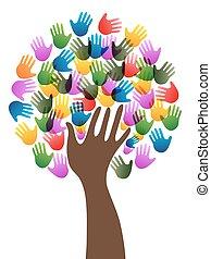 Árbol de manos de diversidad