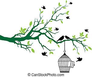 Árbol de primavera con jaula de pájaros y pájaros
