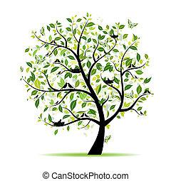 Árbol de primavera verde con aves para tu diseño