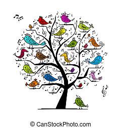Árbol divertido con aves cantando para tu diseño