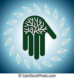 Árbol ecológico en manos ilustrativas