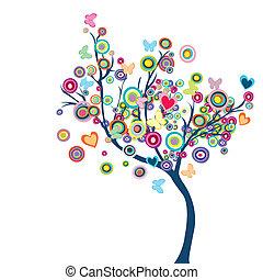 Árbol feliz de color con flores y mariposas
