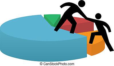 éxito financiero, empresa / negocio, gráfico circular, mano que ayuda