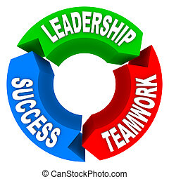éxito, -, flechas, liderazgo, trabajo en equipo, circular