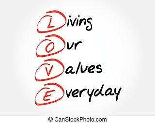 -, amor, valores, vida, diario, nuestro