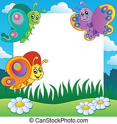 1, mariposas, marco, tema