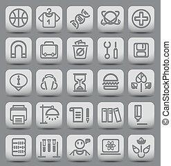 25 botones escolares y universitarios con iconos. Ilustración del vector