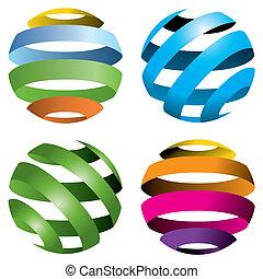 4 globos vectores