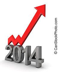 Año 2014 concepto de éxito financiero