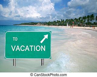 A la señal de vacaciones en agua tropical
