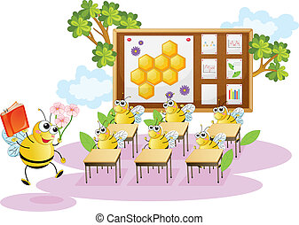 Abejas de miel en un aula