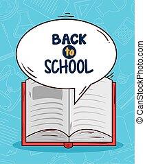 abierto, espalda, bandera, libro, escuela