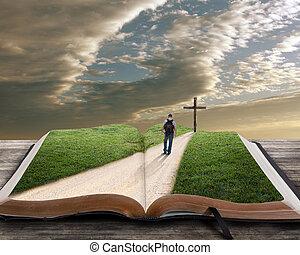 Abre la Biblia con el hombre y cruza