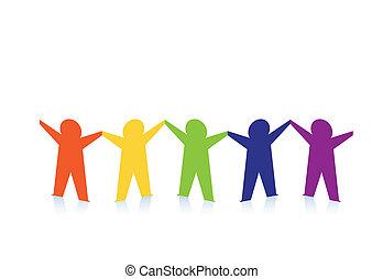 Abstracta gente de papel colorida aislada en blanco