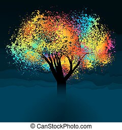 Abstracto árbol colorido. Con espacio de copia. EPS 8