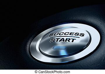 Abstracto botón de arranque, material metálico, color azul y fondo texturizado negro. Concéntrate en la palabra principal y en el efecto borroso. Concepto de negocios