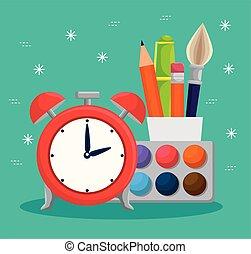 Acuarela con alarma de reloj y lápices con pluma