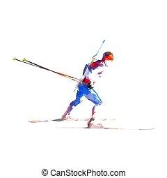 aislado, biathlon, lado, corredor, silhouette., polygonal, deporte, atleta, skier., invierno, bajo, ilustración, vector, vista