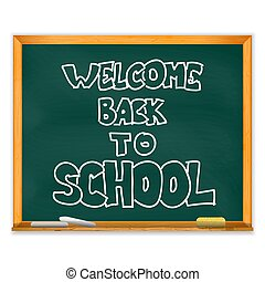 aislado, escuela, chalckboard