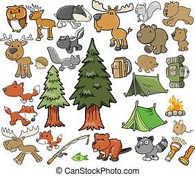 al aire libre, fauna, vector, conjunto, campamento