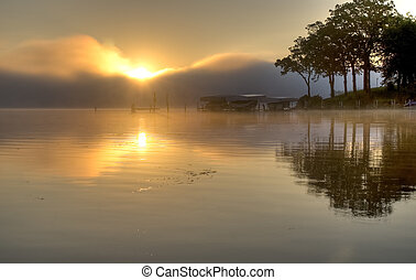 Al amanecer sobre el lago Okoboji