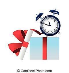 alarma, abierto, reloj, caja, regalo