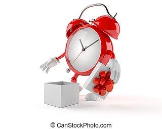 alarma, carácter, reloj, abierto, regalo