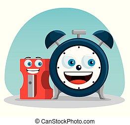 Alarma de reloj con suministros de afilador kawaii