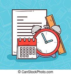 alarma, escuela, calendario, reloj, suministros