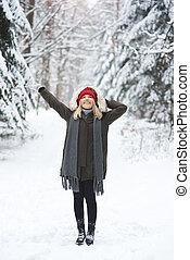 alegre, mujer, invierno