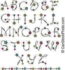 alfabeto, conjunto, flor, latín