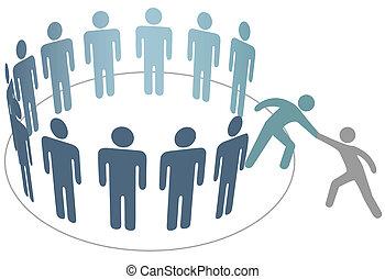 amigo, gente, ensamblar, ayuda, miembros, grupo, compañía, ayudante