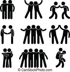 amistad, amigo, relación, equipo