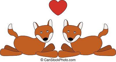 amor, pareja, zorros, caricatura, lindo