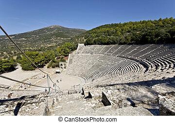 Anfiteatro antiguo de epidauro en peloponisos, Grecia