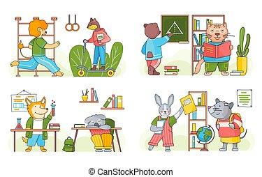 animales, caricatura, conjunto, colección, students., escenas, divertido, espalda, classroom., escuela