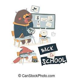 animales, caricatura, sentado, divertido, aula