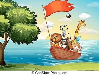 Animales en bote