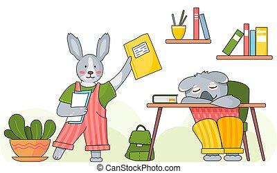 animales, koala, conejo, elemental, aula, concepto, estudiantes, sueño, caracteres, escuela