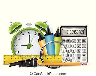 Antecedentes escolares con calculadora 3D realista, reloj retro despertador, regla, lápiz con goma de borrar, marcadores y catalejos. Ilustración de vectores.
