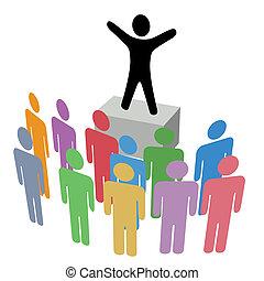 anuncio, soapbox, grupo, campaña, comunicación