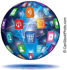 aplicación, concept., globe., icons., internet