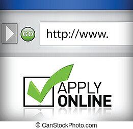 aplicar, ventana, examinador, en línea