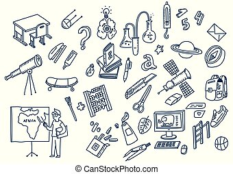 Aprendiendo y educando elementos escolares dibujados a mano
