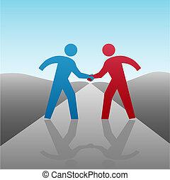 apretón de manos, empresarios, juntos, progreso, socio
