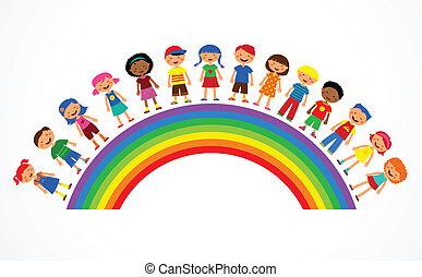 Arco Iris con niños, ilustración vectorial colorida