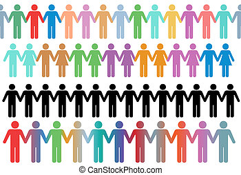 asidero entrega, gente, símbolo, filas, frontera, diverso
