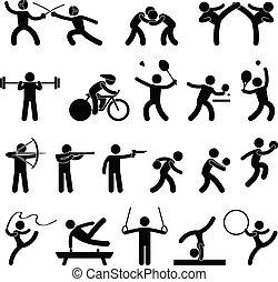 atlético, juego, interior, deporte, icono